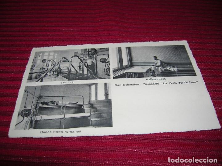 Postales: Postal especial y muy antigua.Balneario La Perla del Océano.San Sebastian - Foto 2 - 135338942