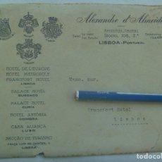 Postales: CARTA DEL EMPRESARIO HOTELERO ALEXANDRE D´ALMEIDA, LISBOA ( PORTUGAL ). ESCUDOS HOTELES, AÑOS 30. Lote 143408938