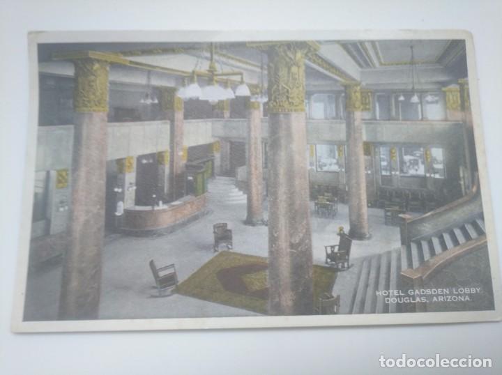 POSTAL 1929 HOTEL GADSEN LOBBY DOUGLAS, ARIZONA. ENVIADA A SAN SEBASTIÁN GIPUZKOA (Postales - Postales Temáticas - Hoteles y Balnearios)