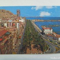 Postales: POSTAL DE ALICANTE : EXPLANADA Y PUERTO . AÑOS 60, SE VE EL HOTEL GRAN SOL.. Lote 148605854