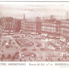 Postales: HOTEL, HOTEL AMERICANO, MADRID, SIN CIRCULAR. Lote 152567722
