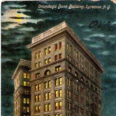 Postales: EDIFICIOS SINGULARES, SYRACUSE, NEW YORK, ONONDAGA BANK BUILDING, , CIRCULADA CON SU SELLO. Lote 155432170