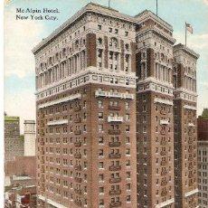 Postales: EDIFICIOS SINGULARES, NEW YORK CITY, MC.ALPIN HOTEL, SIN CIRCULAR. Lote 155433126