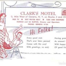 Postales: HOTEL, HOTEL CLARK'S MOTEL, PENNA, NEW YORK, , SIN CIRCULAR. Lote 155434006