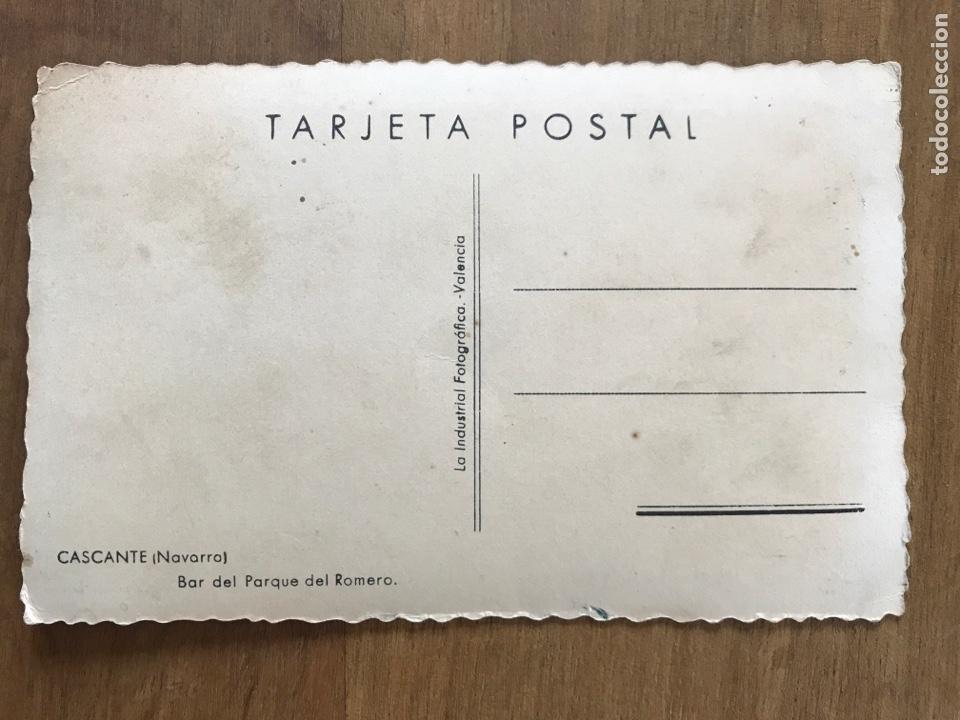 Postales: ANTIGUA POSTAL DE CASCANTE, NAVARRA. BAR DEL PARQUE DEL ROMERO - Foto 2 - 158904632
