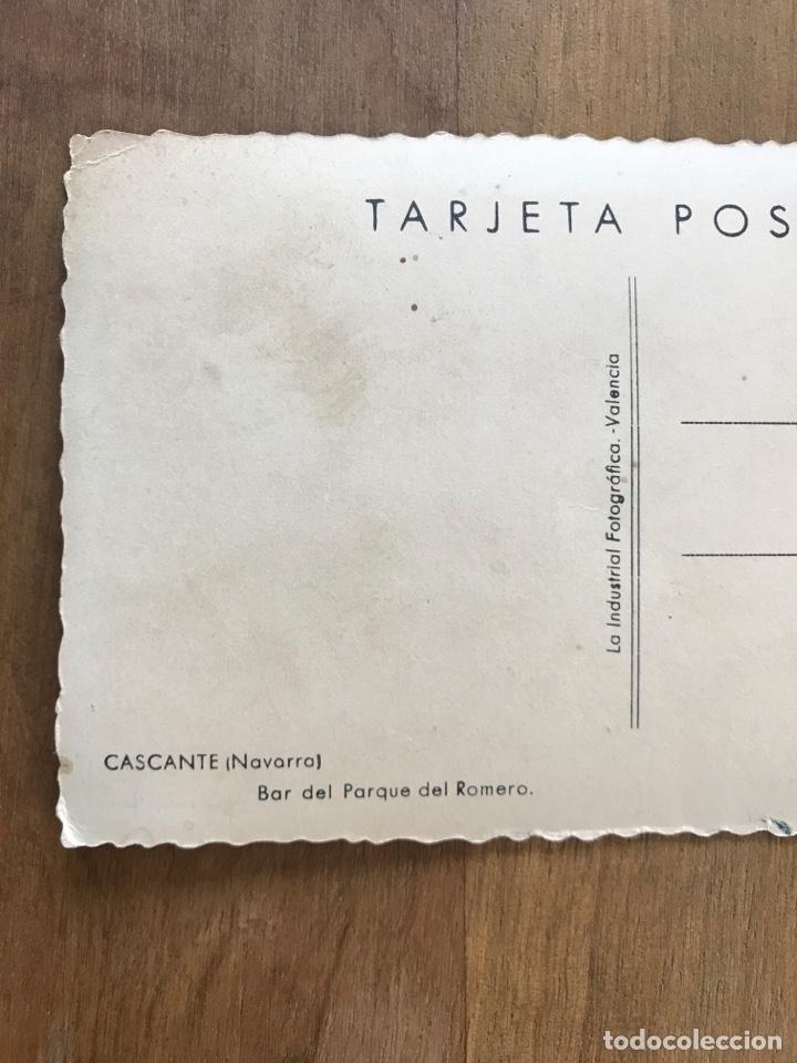 Postales: ANTIGUA POSTAL DE CASCANTE, NAVARRA. BAR DEL PARQUE DEL ROMERO - Foto 3 - 158904632