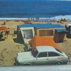 Postales: POSTAL DEL CAMPING CHULLERA , MANILVA ( MALAGA ) , AÑOS 60. COCHE DE EPOCA. Lote 161283202