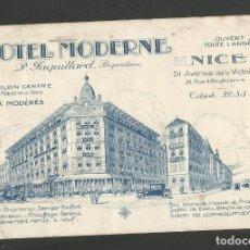Postales: HOTEL MODERNE-NICE-FRANCIA-POSTAL PUBLICITARIA-VER REVERSO-(59.944). Lote 166837930