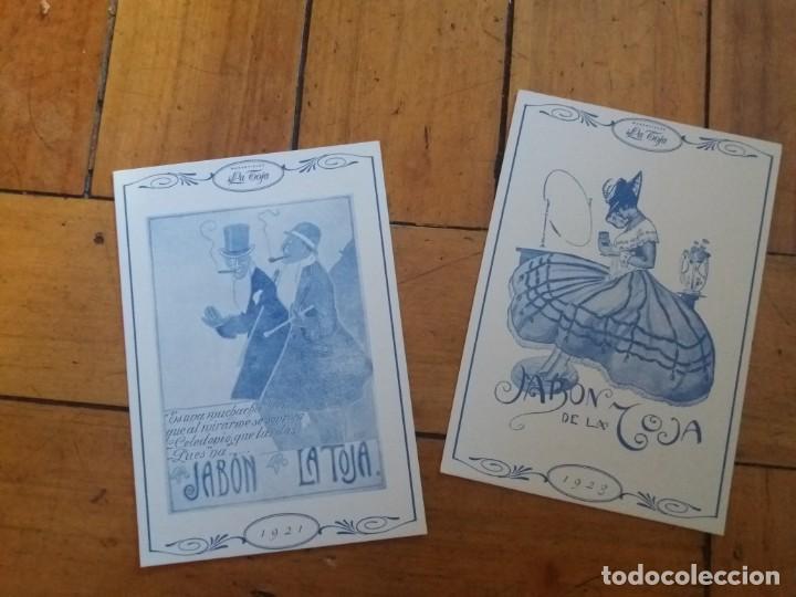 LOTE DE 2. POSTAL PUBLICITARIA. JABONES MANANTIALES LA TOJA. (Postales - Postales Temáticas - Hoteles y Balnearios)