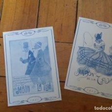 Postales: LOTE DE 2. POSTAL PUBLICITARIA. JABONES MANANTIALES LA TOJA.. Lote 167606668