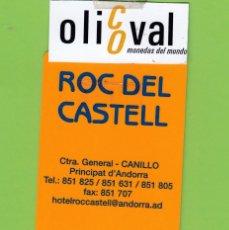 Postales: TARJETA HOTEL ROC CASTELL ANDORRA DORSO BLANCO TH186. Lote 176281224
