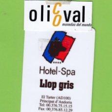 Postales: TARJETA HOTEL -SPA LLOP GRIS EL TARTER ANDORRA DORSO BLANCO TH 188. Lote 176282544