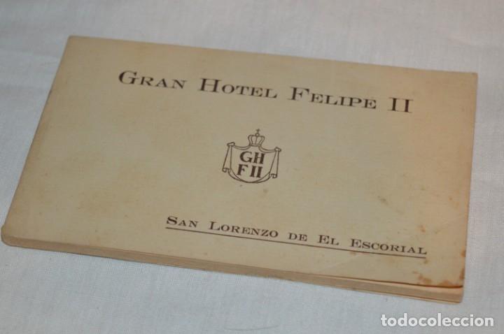 HUSA GRAN HOTEL FELIPE II - SAN LORENZO DE EL ESCORIAL - BLOC COMPLETO 12 POSTALES ANTIGUAS ¡MIRA! (Postales - Postales Temáticas - Hoteles y Balnearios)