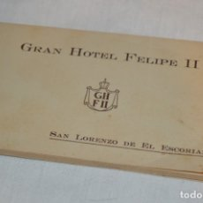 Postales: HUSA GRAN HOTEL FELIPE II - SAN LORENZO DE EL ESCORIAL - BLOC COMPLETO 12 POSTALES ANTIGUAS ¡MIRA!. Lote 176596184