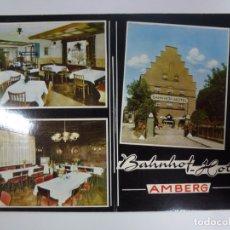 Postales: POSTAL. BAHNHOF HOTEL. AMBERG. CON PUBLICIDAD AL DORSO. . Lote 178657611