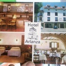Postales: POSTAL HOTEL ARLANZA COVARRUBIAS BURGOS FACHADA DEL HOTEL COCINA SERRANA COMEDOR HABITACIÓN 1971 ESC. Lote 180187382