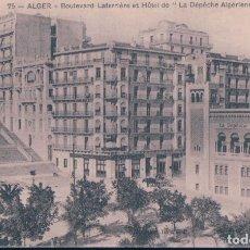 Postales: AFRICA - ALGER BOULEVARD LAFERRIERE ET HOTEL DE LA DEPECHE ALGERIENNE. Lote 182748740
