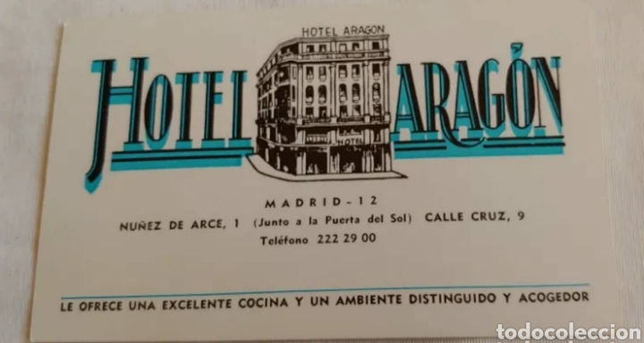 ANTIGUA TARJETA HOTEL ARAGÓN MADRID (Postales - Postales Temáticas - Hoteles y Balnearios)