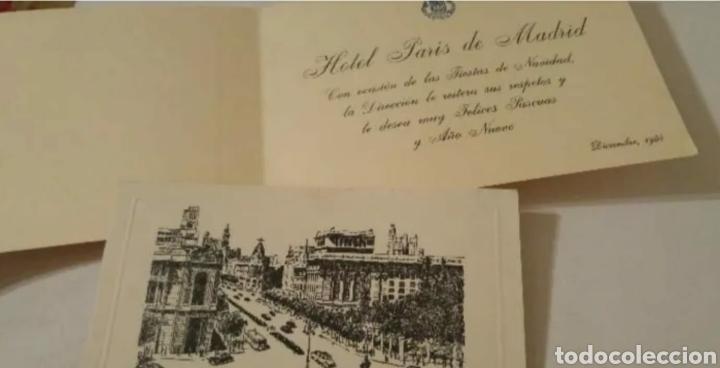 HOTEL PARÍS MADRID FELICITACIÓN NAVIDAD Y AÑO NUEVO 1955 (Postales - Postales Temáticas - Hoteles y Balnearios)