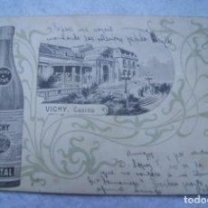 Postales: VICHY CASINO PUBLICIDAD AGUAS HOPITAL CARTERIA CANDAS ASTURIAS 1903 SIN DIVIDIR. Lote 203071896