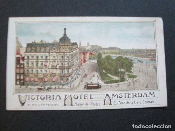 HOLANDA-ASMTERDAM-VICTORIA HOTEL-TARJETA DE PUBLICIDAD ANTIGUA-VER FOTOS-(V-20.171) (Postales - Postales Temáticas - Hoteles y Balnearios)