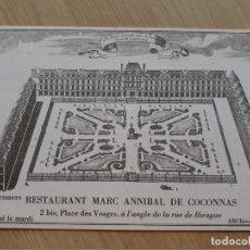 Postales: TARJETA POSTAL - PARIS - RESTAURANTE MARC ANNIBAL DE COCONNAS. Lote 206322723