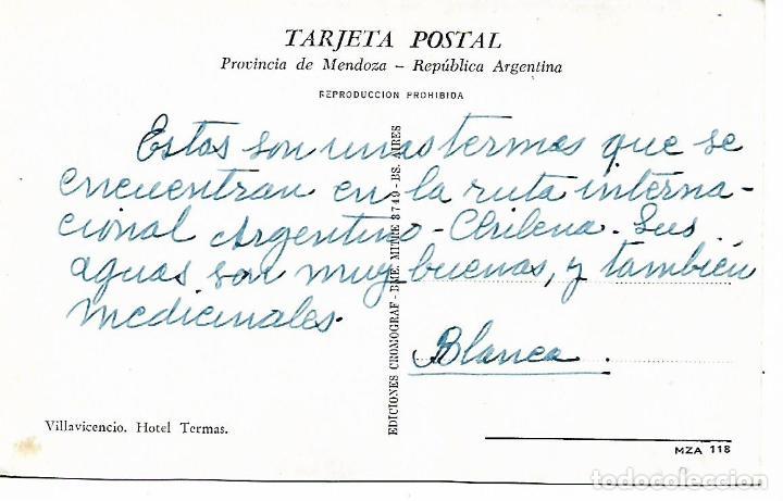 Postales: POSTAL A COLOR VILLAVICENCIO HOTEL TERMAS MENDOZA REPÚBLICA ARGENTINA - Foto 2 - 207110687