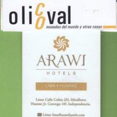 Postales: TARJETA HOTEL PERÚ LIMA-HUARAZ HOTEL ARAWI INHQUA-CALMELL TH0019. Lote 207329225