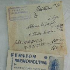 Postales: PENSIÓN MENORQUINA DE PALMA DE MALLORCA. TARJETA Y RECIBO.. Lote 208916820