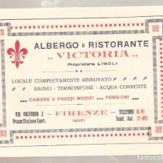 Postales: ALBERGO RISTORANTE VICTORIA. FIRENZE.. ITALIA..ANTIGUA. . VELL I BELL. Lote 210422691