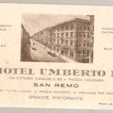 Postales: HOTEL UMBERTO I. SAN REMO.. ITALIA. .ANTIGUA. . VELL I BELL. Lote 210422730