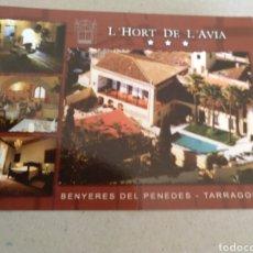 Postales: HOTEL-RESTAURA TE L, JORT DE L, AVÍA BANYERES DEL PENEDÉS TARRAGONA. SIN CIRCULAR. Lote 221380142