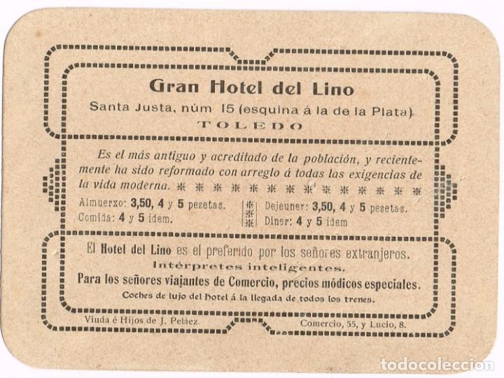 """AÑOS 20 - 30 TARJETA PUBLICITARIA """"GRAN HOTEL DEL LINO"""" TOLEDO (Postales - Postales Temáticas - Hoteles y Balnearios)"""