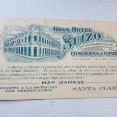 Postales: GRAN HOTEL SUIZO CUBA LA HABANA PUBLICIDAD RESTAURANTE Y CAFE. Lote 234396015
