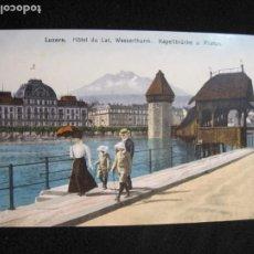 Postales: SUIZA-LUZERN-HOTEL DU LAC-POSTAL ANTIGUA-(78.114). Lote 245999615