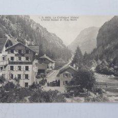 Postales: POSTAL SUIZA HOTEL SUIZO DE CHATELARD VALAIS CARROS Y GENTE. Lote 248188860