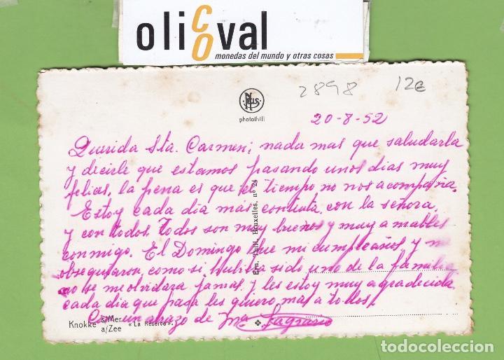 Postales: TARJETA HOTEL LA RESERVE KNOKKE DATADA 20 8 52 TPH 2898 - Foto 2 - 257315865