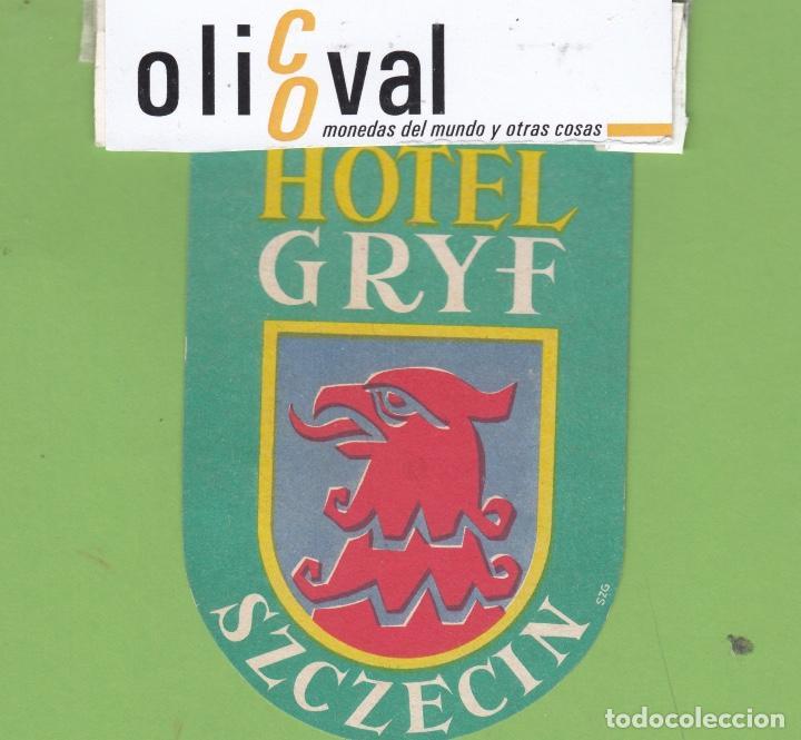 ETIQUETA HOTEL GRYF SZCZECIN POLONIA TROQUEL EH32701 (Postales - Postales Temáticas - Hoteles y Balnearios)