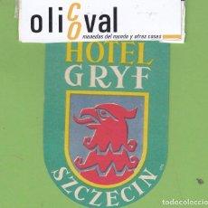 Postales: ETIQUETA HOTEL GRYF SZCZECIN POLONIA TROQUEL EH32701. Lote 262188630