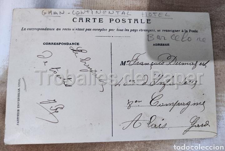 Postales: Gran Hotel continental Barcelona. Postal francesa. Circulada 1908. Segell 5c República - Foto 2 - 262491795
