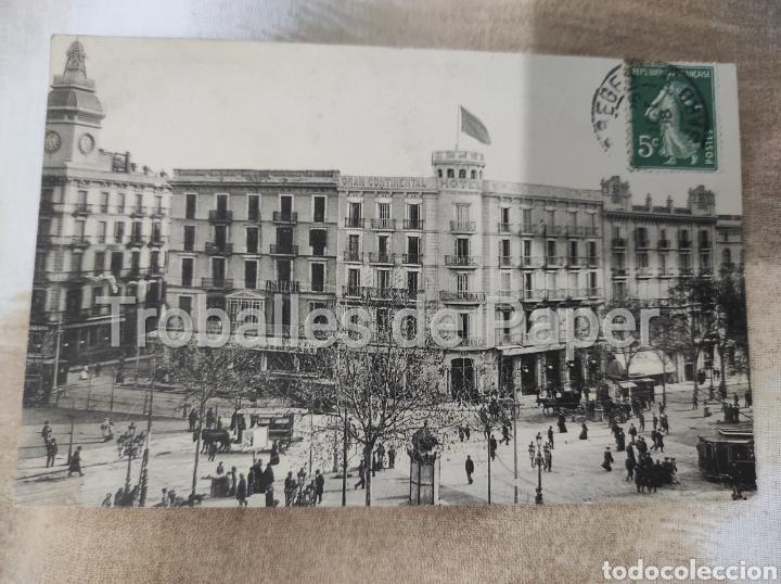 GRAN HOTEL CONTINENTAL BARCELONA. POSTAL FRANCESA. CIRCULADA 1908. SEGELL 5C REPÚBLICA (Postales - Postales Temáticas - Hoteles y Balnearios)