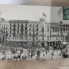 Postales: GRAN HOTEL CONTINENTAL BARCELONA. POSTAL FRANCESA. CIRCULADA 1908. SEGELL 5C REPÚBLICA. Lote 262491795