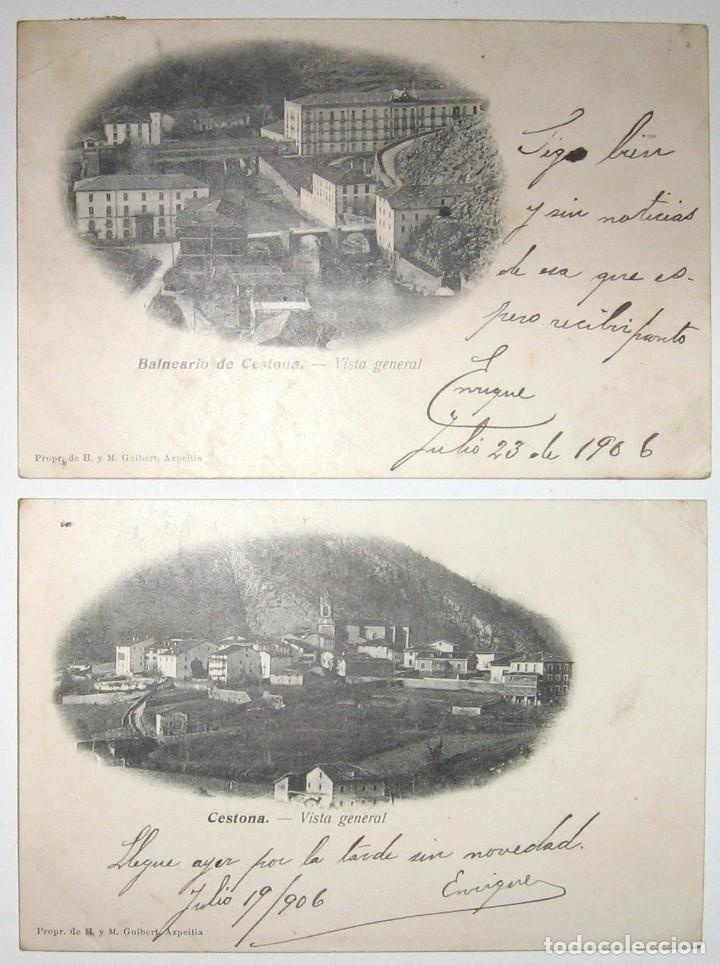 DOS POSTALES DE CESTONA. H. Y M. GUIBERT. CIRCULADAS Y SIN DIVIDIR. 1906. (Postales - Postales Temáticas - Hoteles y Balnearios)