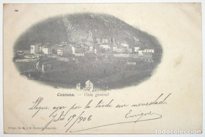 Postales: DOS POSTALES DE CESTONA. H. Y M. GUIBERT. CIRCULADAS Y SIN DIVIDIR. 1906. - Foto 3 - 285298438