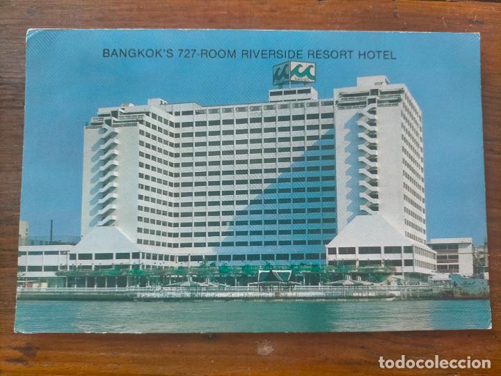 BANGKOK'S 727-ROOM RIVERSIDE RESORT THAILAND TAILANDIA HOTEL POST CARD (Postales - Postales Temáticas - Hoteles y Balnearios)