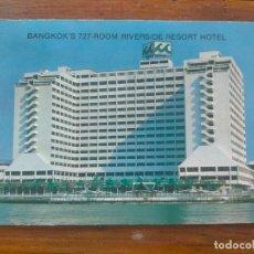 Postales: BANGKOK'S 727-ROOM RIVERSIDE RESORT THAILAND TAILANDIA HOTEL POST CARD. Lote 286322053