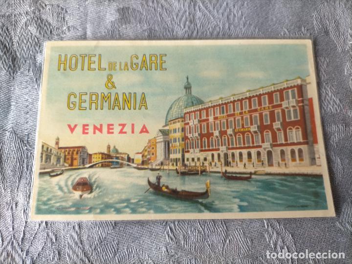 HOTEL DE LA GARE & GERMANIA VENEZIA POSTCARD (Postales - Postales Temáticas - Hoteles y Balnearios)