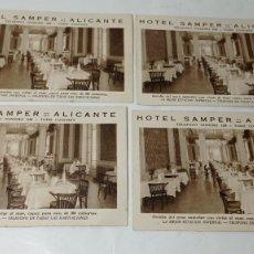 Postales: ORIGINAL NO COPIA.HOTEL SAMPER ALICANTE LOTE POSTAL POSTALES 4 UNIDADES. Lote 289435983