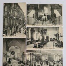 Postales: 6 ANTIGUAS POSTALES HOTEL PATRÓN MURCIA - ESCALERA PATIO CENTRAL COMEDOR DORMITORIO JARDÍN. Lote 294851283