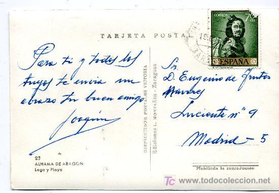 Postales: ALHAMA DE ARAGON- LAGO Y PLAYA- FRANQUEADA Y ESCRITA 1962(VER FOTO) ED. L. MONTAÑESA - Foto 2 - 27094317